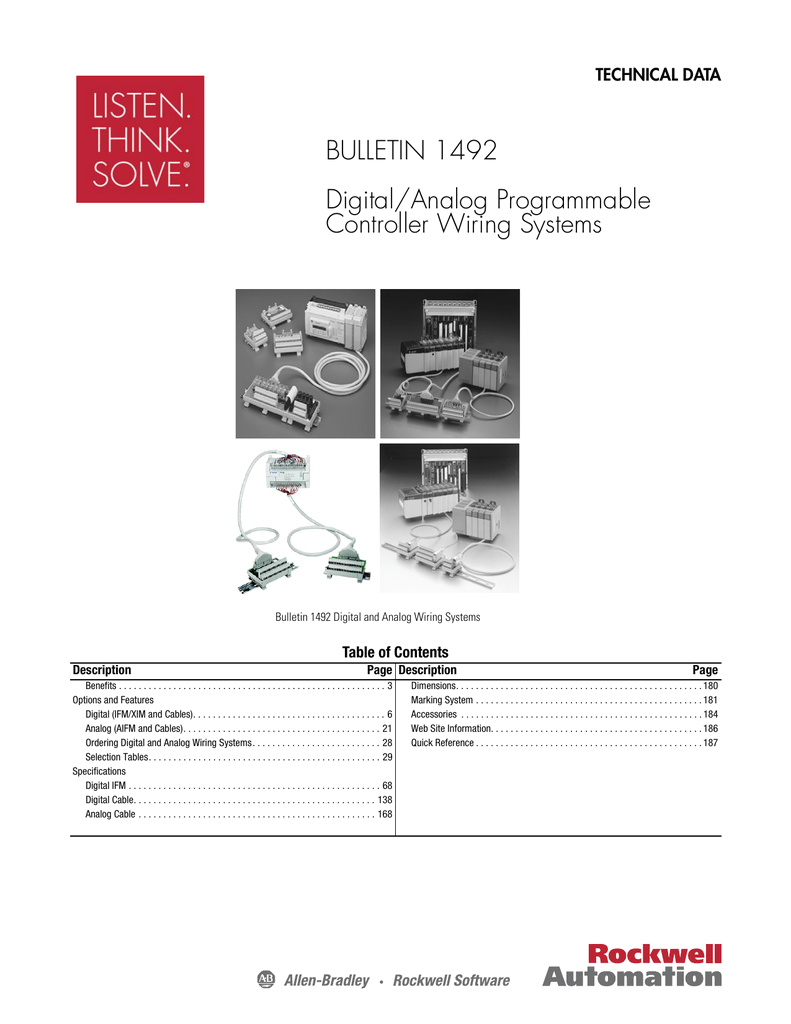 technical data bulletin 1492 digital analog programmable controller wiring systems bulletin 1492 digital and analog wiring systems table of contents