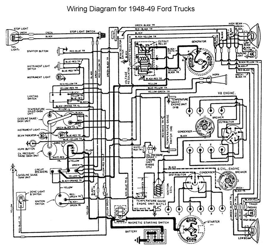 wiring for 1948 to 49 ford trucks ford trucks 48 52 1948 ford 1948 ford tractor wiring diagram 1948 ford wiring diagram