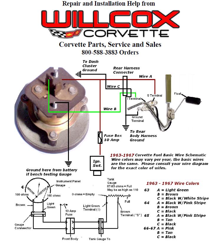 1963 1967 corvette fuel gauge wiring schematic willcox corvette inc63 67 corvette fuel gauge wiring