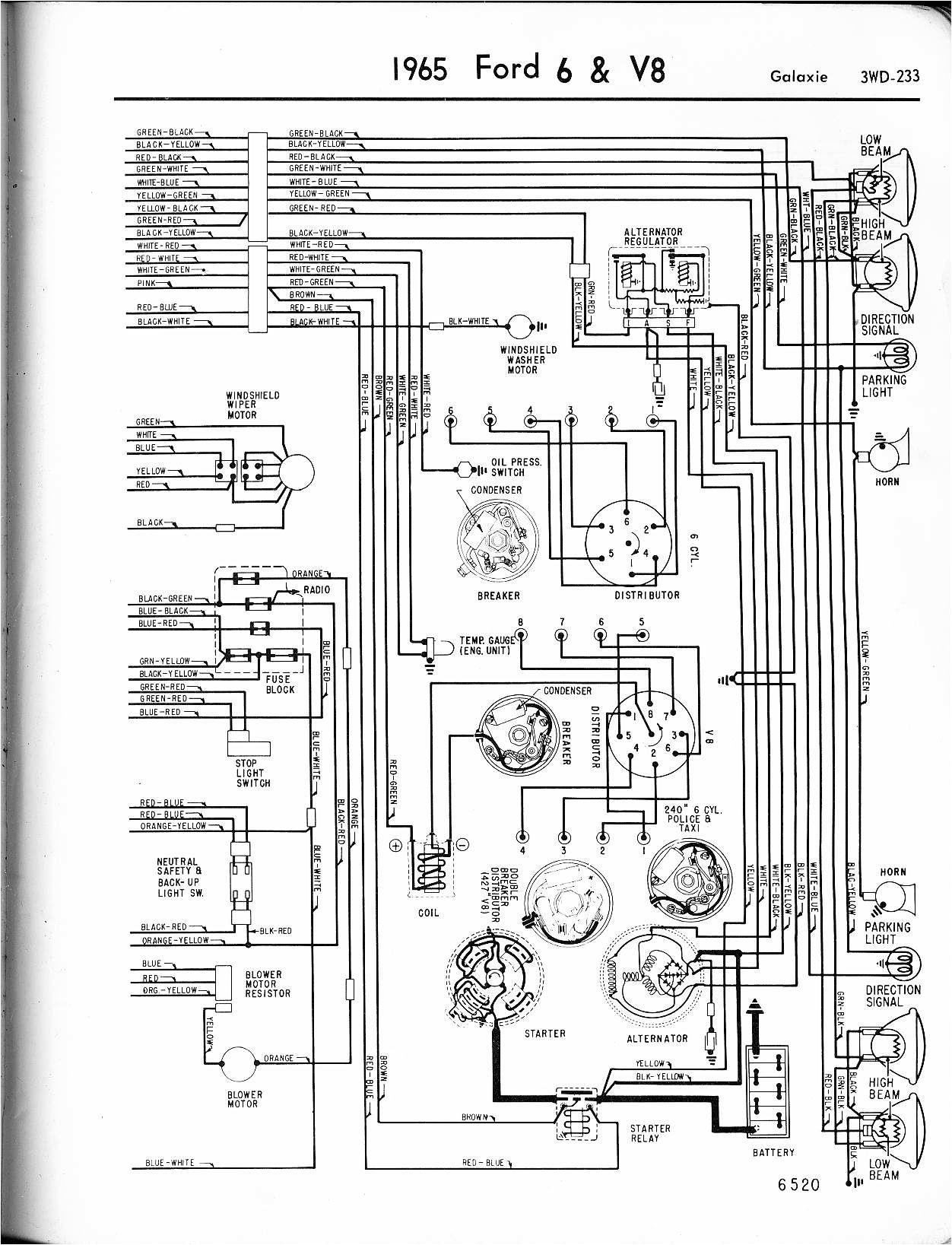 free wiring diagrams automotive ford galaxie 1965 6 v8 galaxie 1965 ford mustang dash wiring diagram 1965 ford wiring diagram