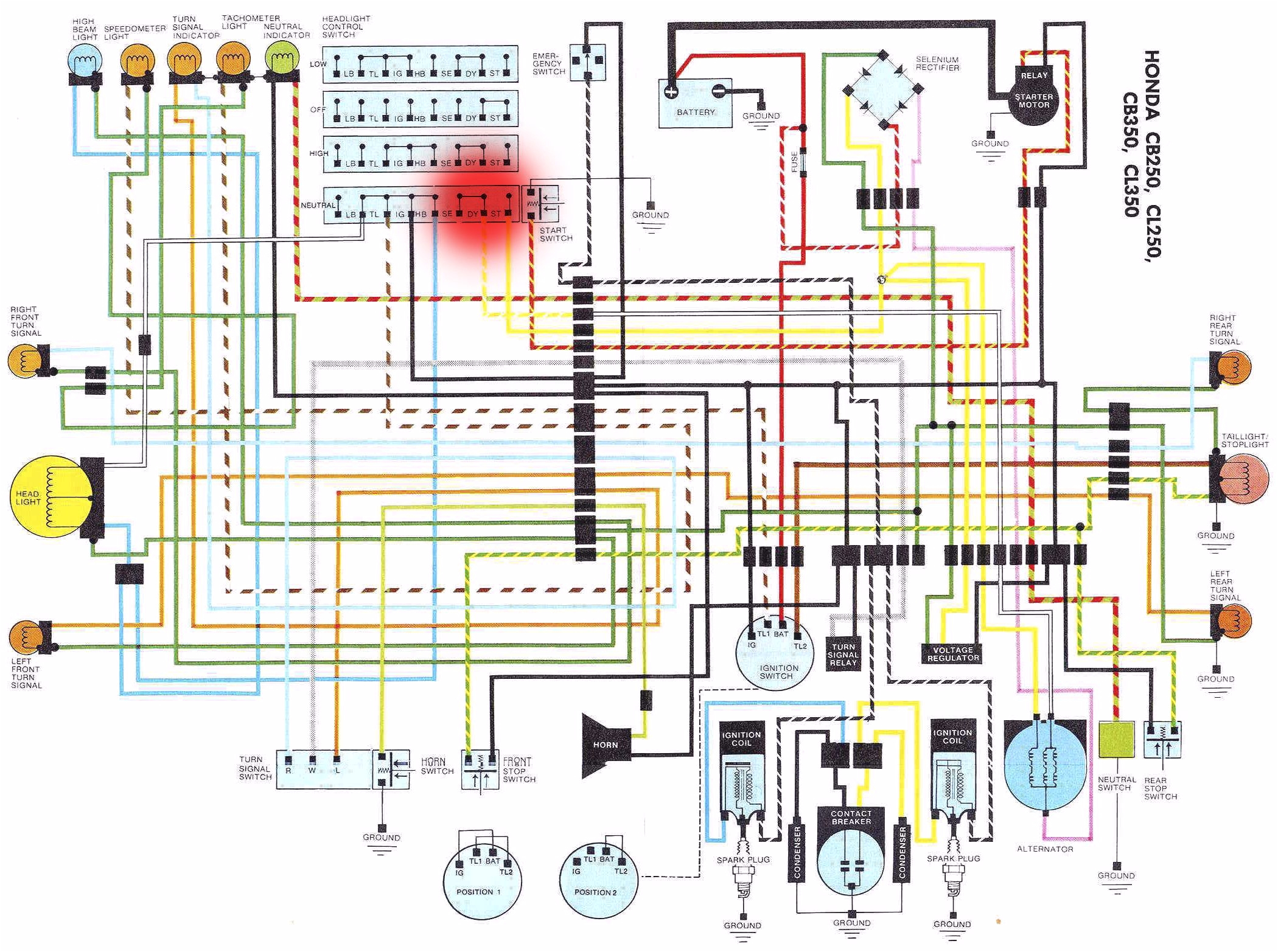 diagram also honda sl 350 wiring harness diagram also 1988 hondahonda 350 wiring diagram wiring diagram