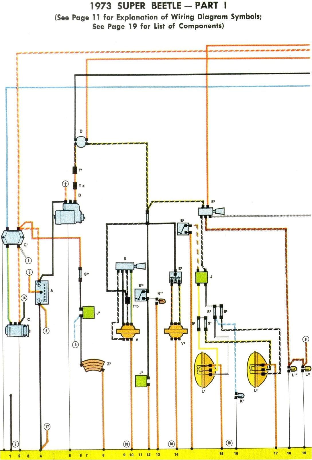 1973 super beetle wiring diagram thegoldenbug com 1973 vw starter wiring diagram 1973 volkswagen wiring diagram
