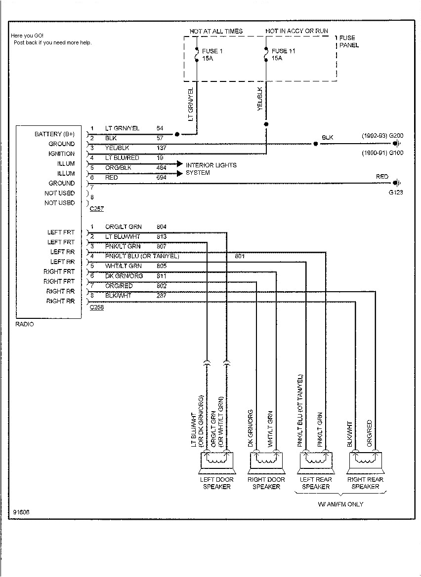 1991 ford radio wiring diagram wiring diagrams konsult 91 ford radio wiring diagram 1991 ford radio