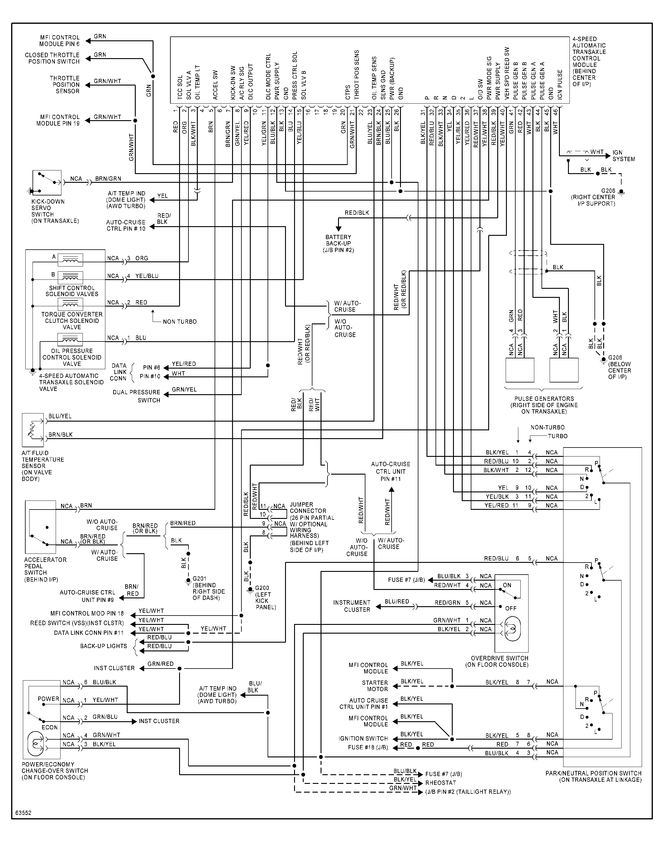 92 94 awd turbo auto transmission wiring diagram