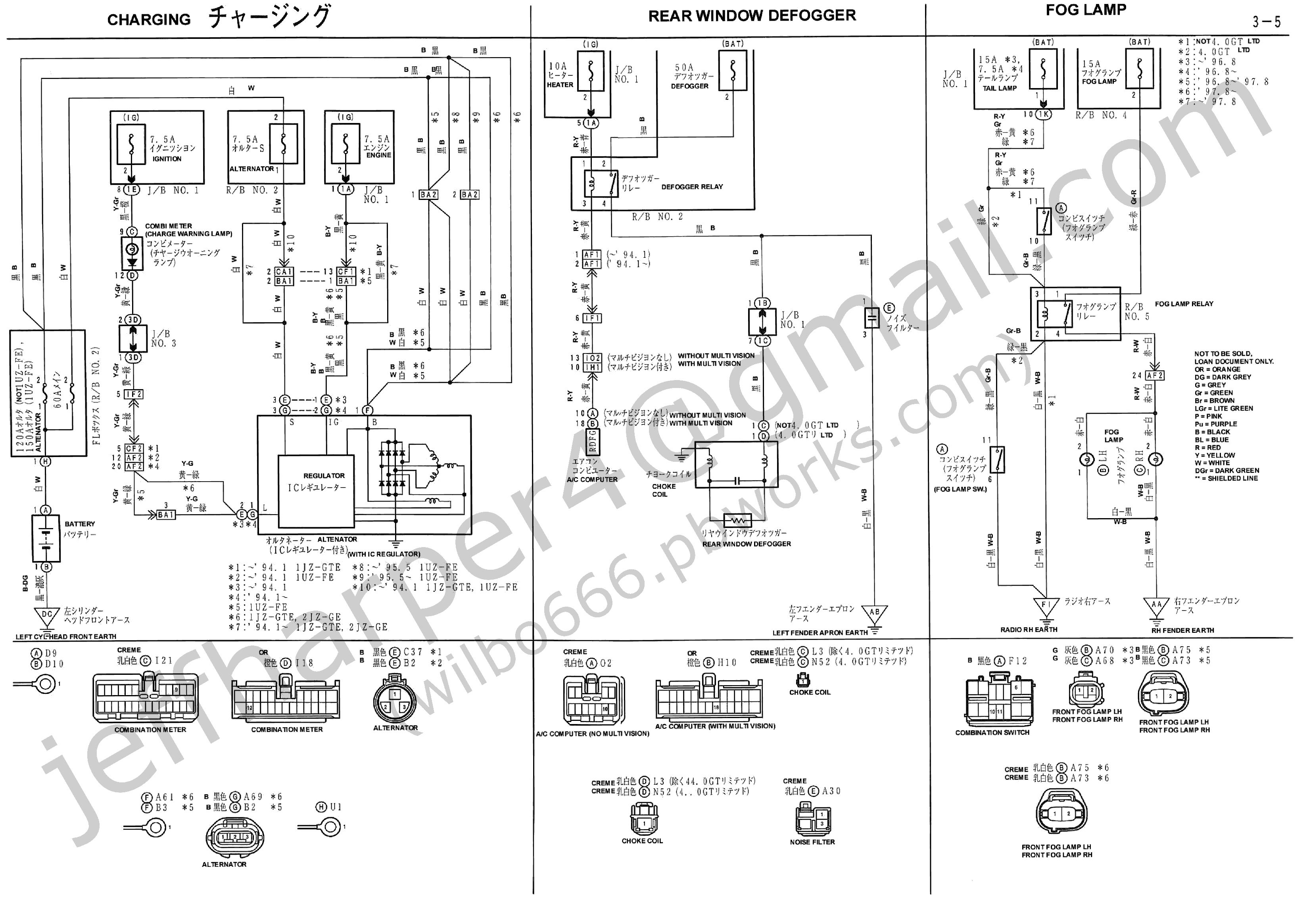 jzz30 toyota soarer combination meter wiring diagrams