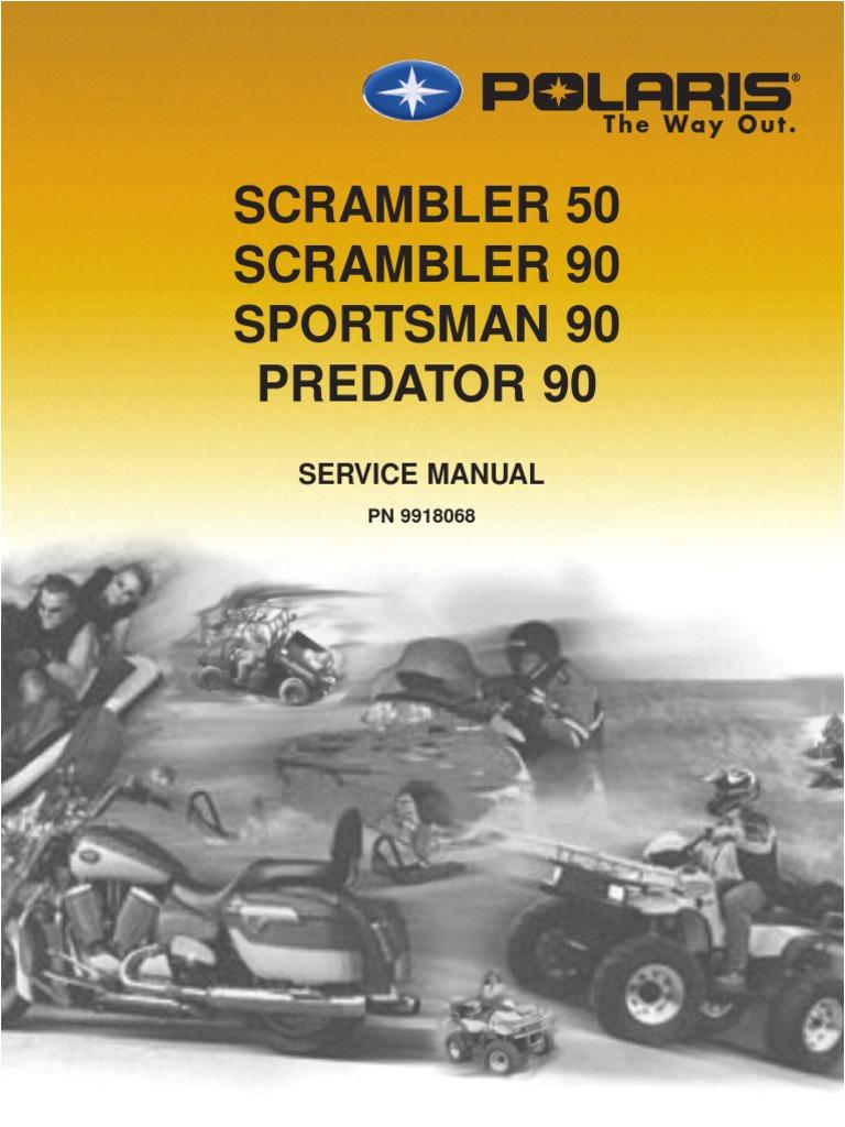 2003 polaris scrambler 50 90 sportsman 90 predator 90 service manual 1 tire piston