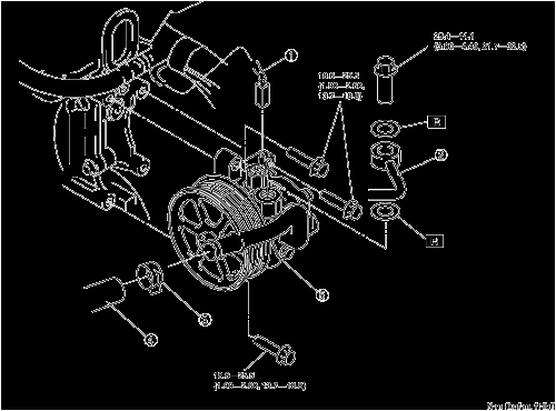 exploded view of the power steering pump assembly mx 5 miata