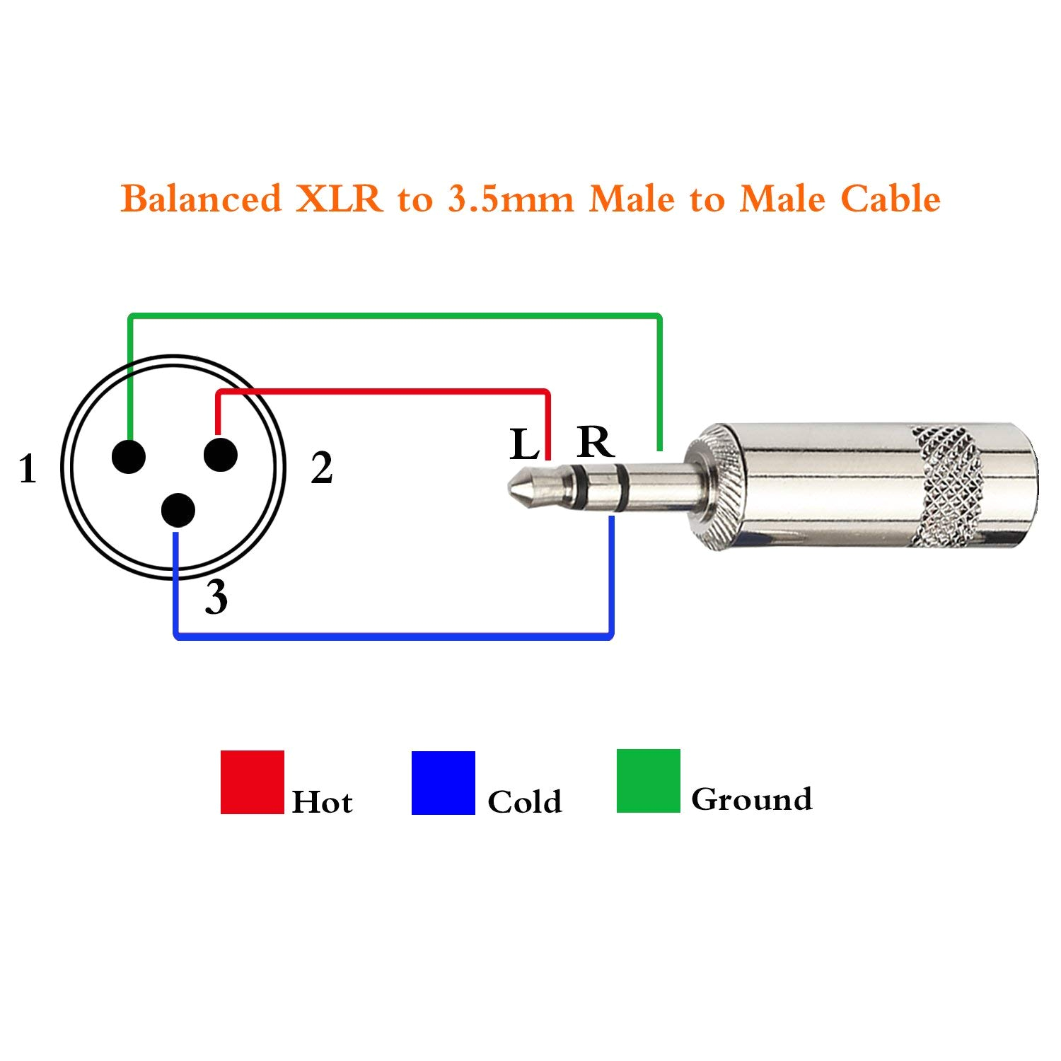 3.5 Mm Jack to Xlr Wiring Diagram Amazon Com Tisino Mini Jack 3 5mm 1 8 Inch Trs Stereo Male to Xlr