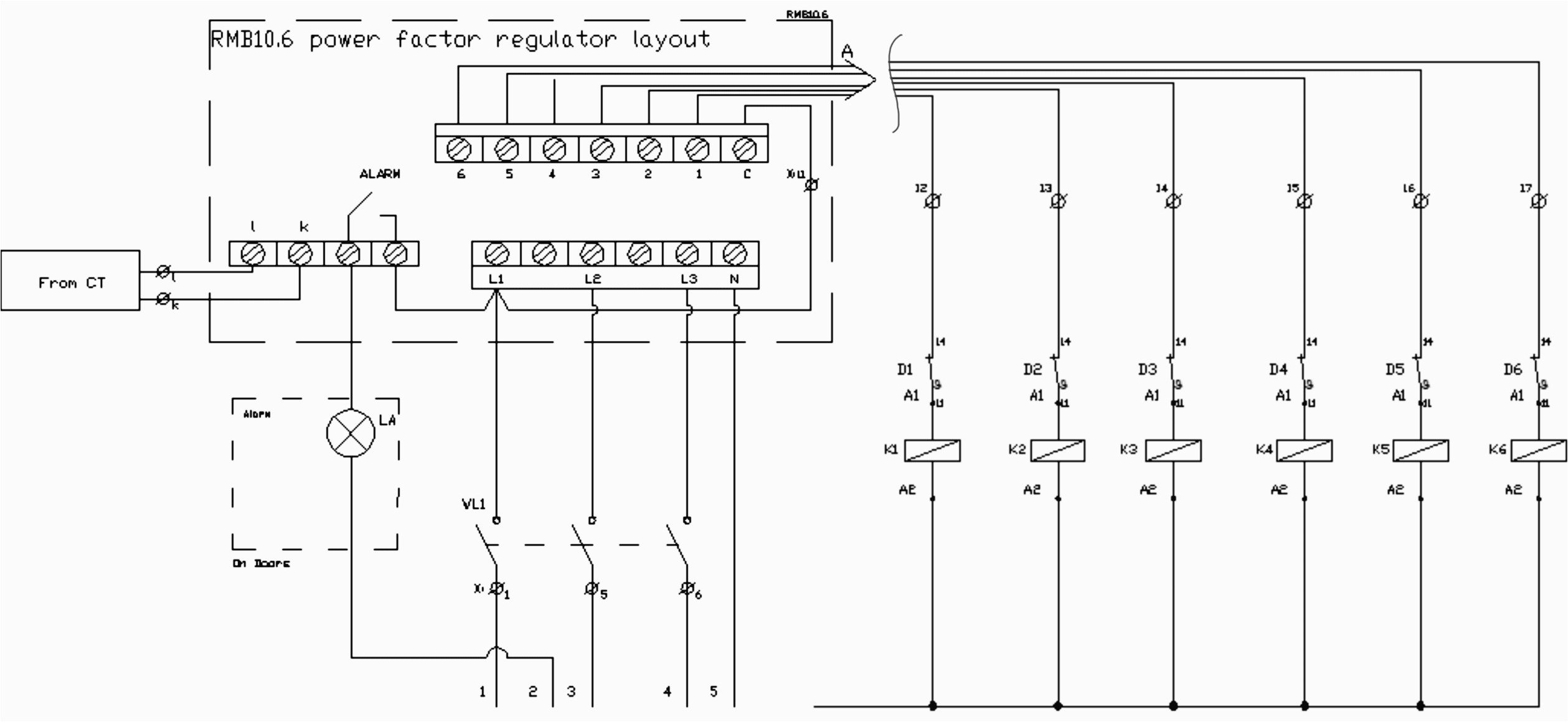 wiring of capacitor bank control circuit