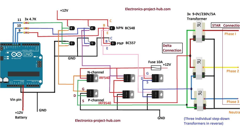 three phase inverter circuit diagram diy electronics projects 3 phase inverter block diagram 3 phase inverter block diagram