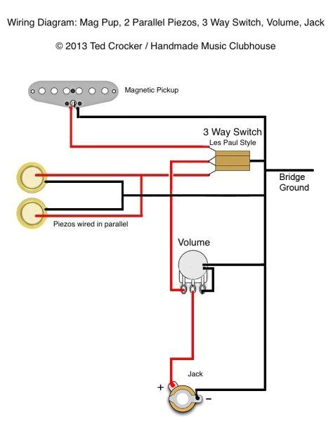 3 Wire Humbucker Wire Diagram Ted Crocker Wiring Diagram 1 Single Coil 2 Piezo 1 Vol 3 Way