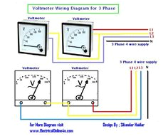how to wire voltmeters for 3 phase voltage measuring electrical online 4u electrical tutorials