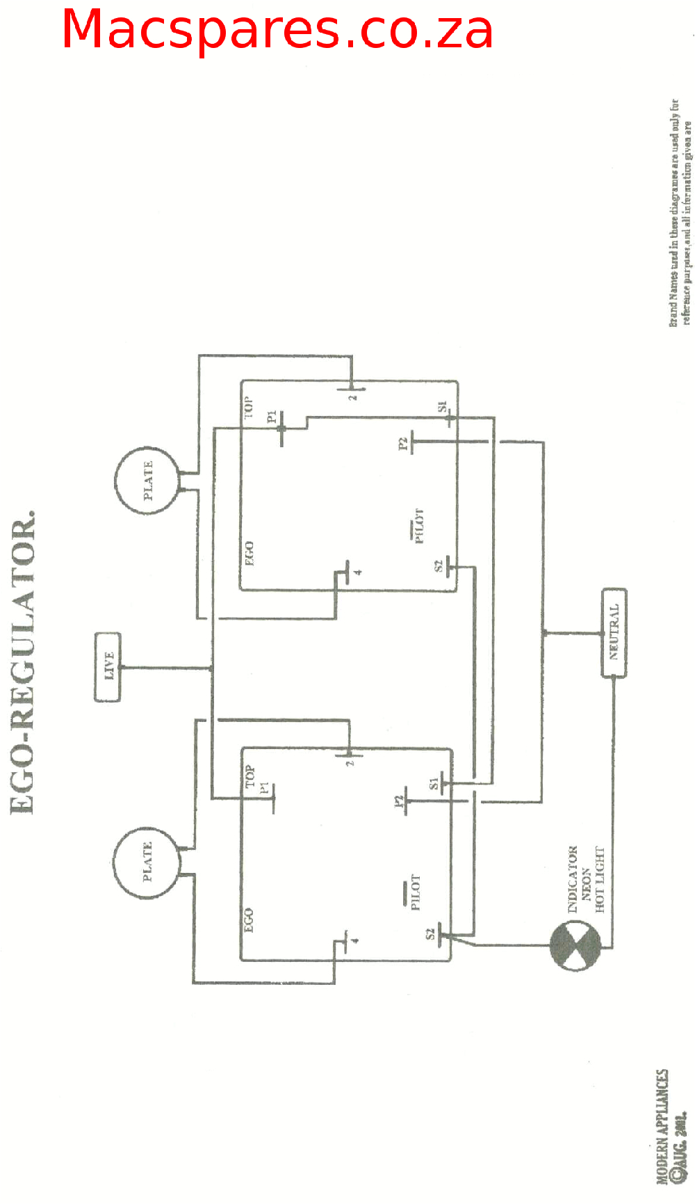 rotary 3 heat switch a rotary 6 position switch a two plate hotplate connection