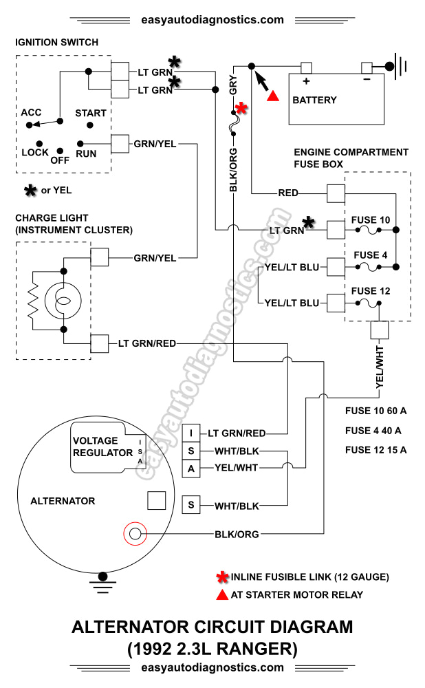 ford ranger alternator wiring diagram