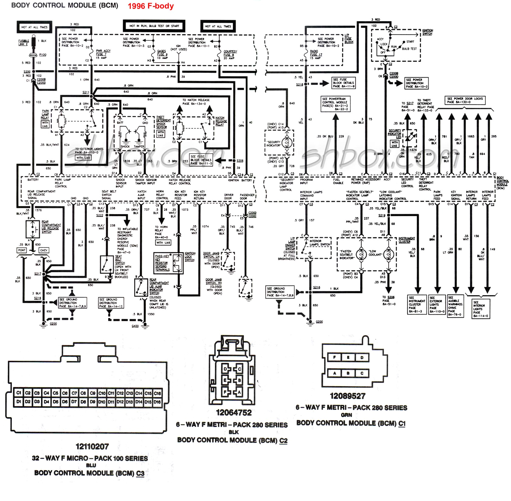 98 camaro wiring schematic 4th gen lt1 f body tech aidsbcm body control module 1996