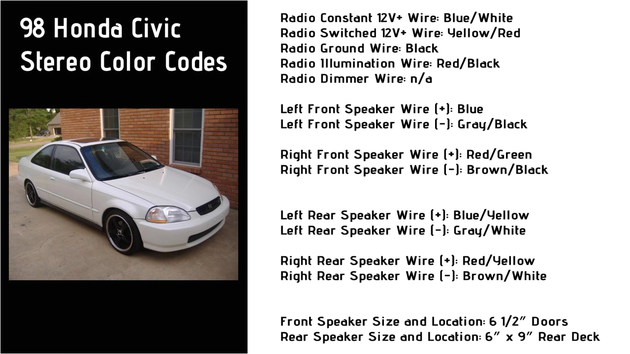 1998 honda civic stereo wiring color codes 6th generation honda1998 honda civic stereo wiring color codes