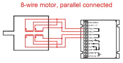 8 wire step motor parallel connection diagram