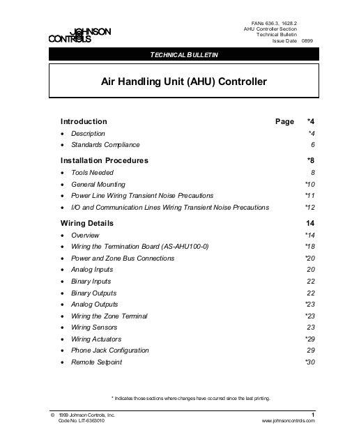 air handling unit ahu controller technical bulletin engineered air jpg