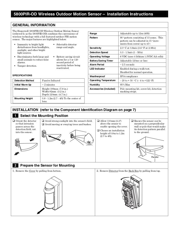 Alarm Pir Wiring Diagram Honeywell 5800pir Od Install Guide