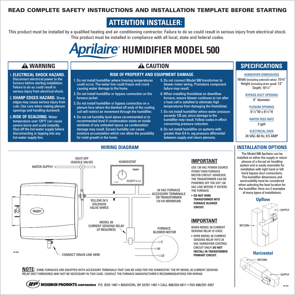aprilaire 500 specifications read complete safety instructions and installation