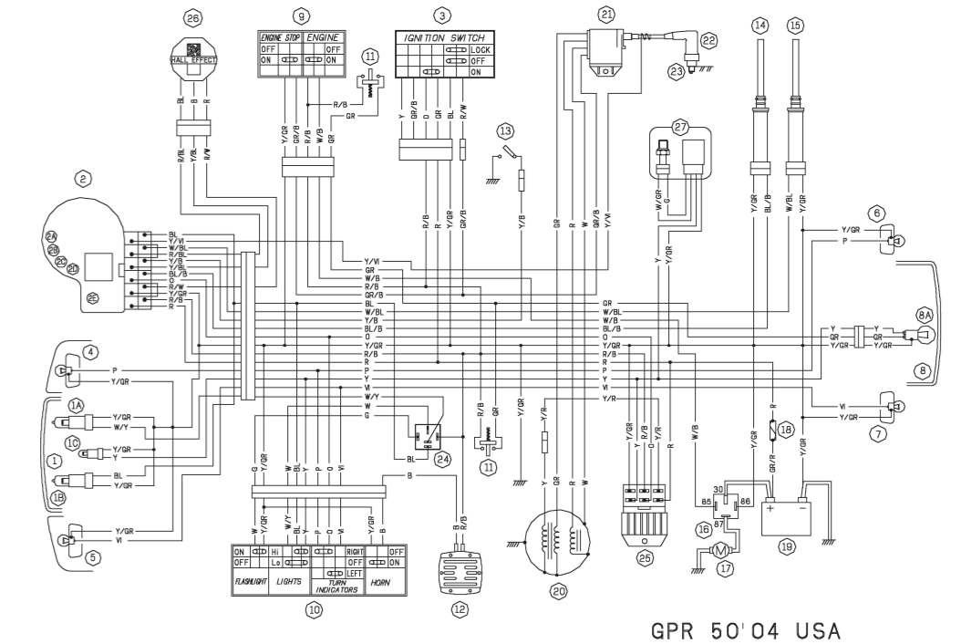 derbi gpr 50 2005 2009 wiring diagram