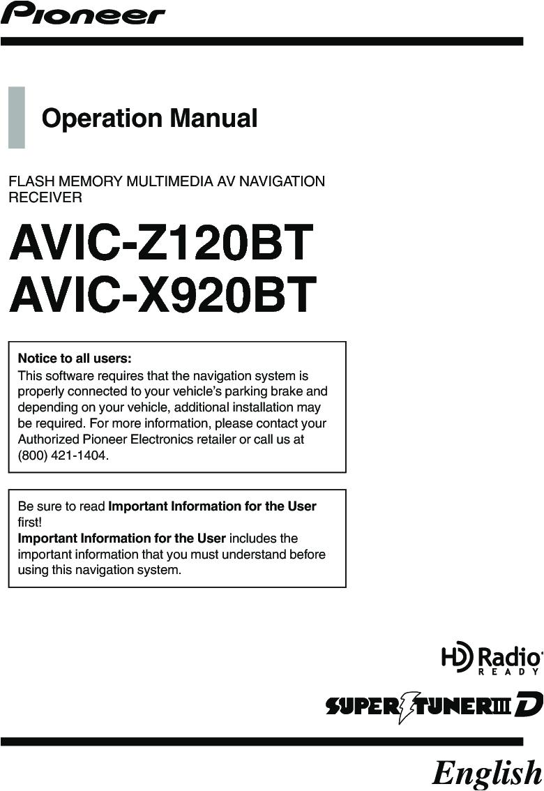pioneer k031 multi media avn navigation server system with bt user manual user manaul 1