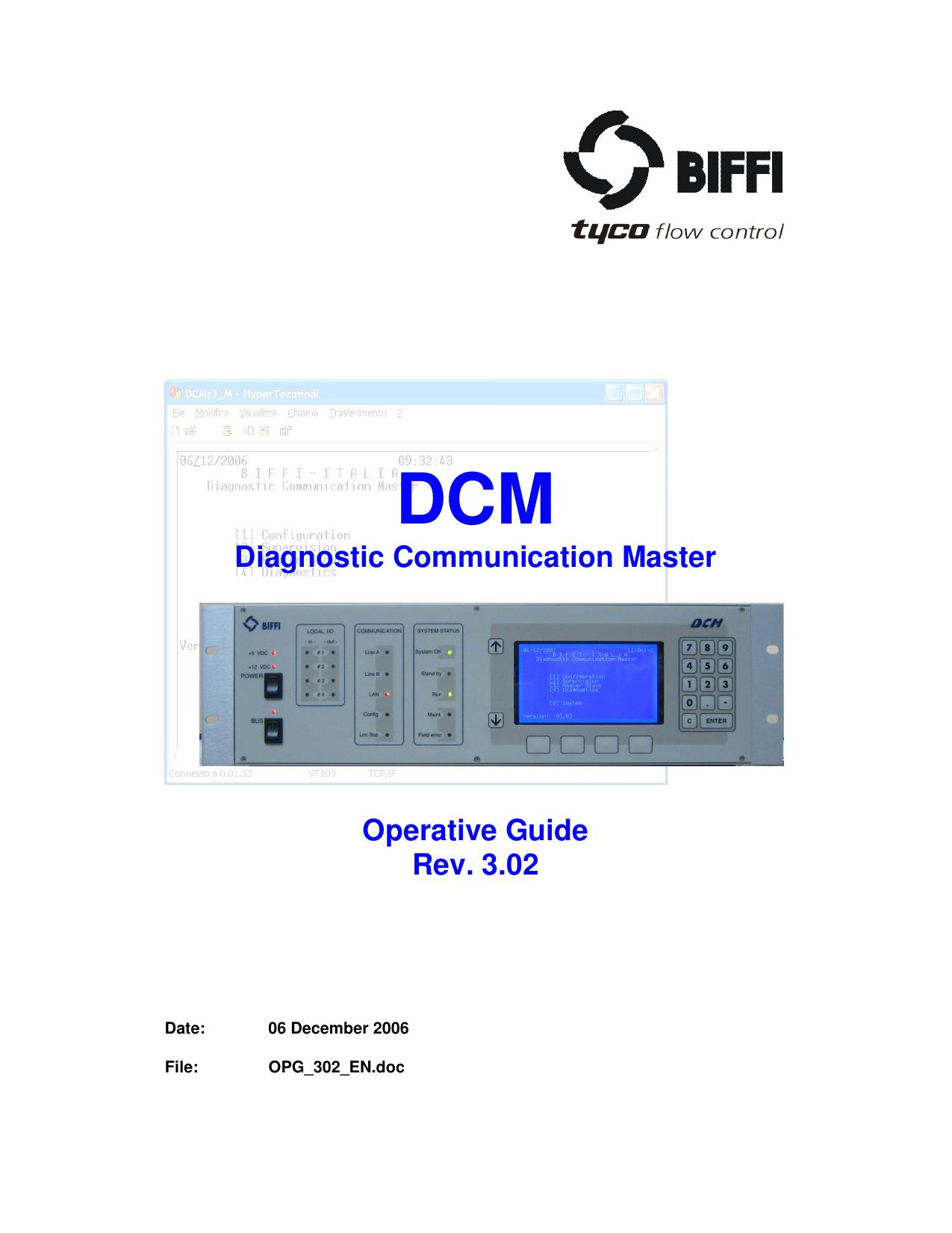 dcm diagnostic communication master operative guide rev 3 02
