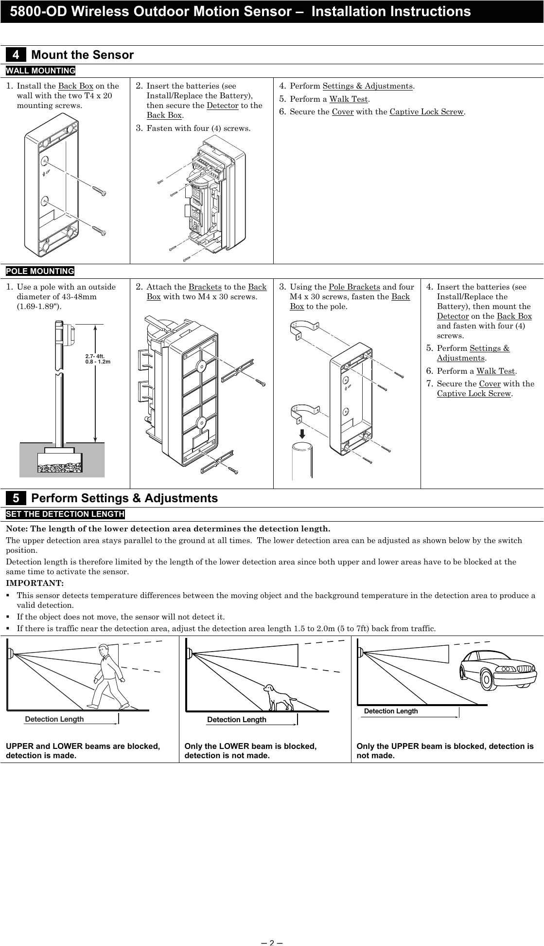 page 2 of 8dl5800pir od security transmitter user manual 5890 od wireless outdoor motion