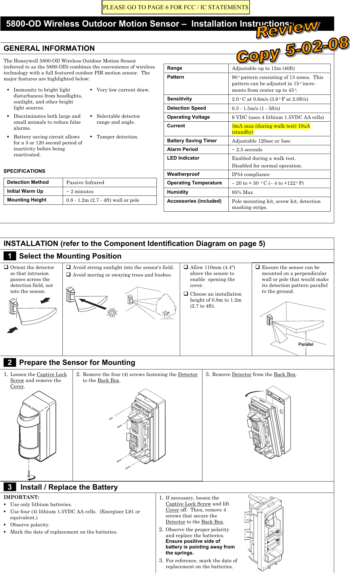8dl5800pir od security transmitter user manual 5890 od wireless outdoor motion sensor honeywell