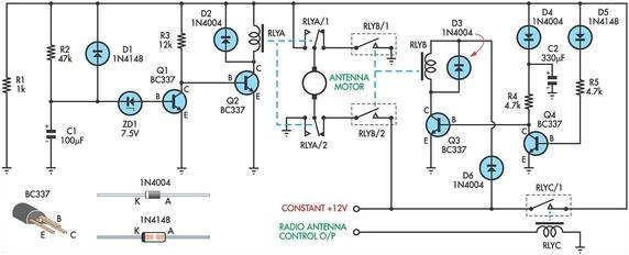 power antenna schematic wiring diagram home power antenna schematic