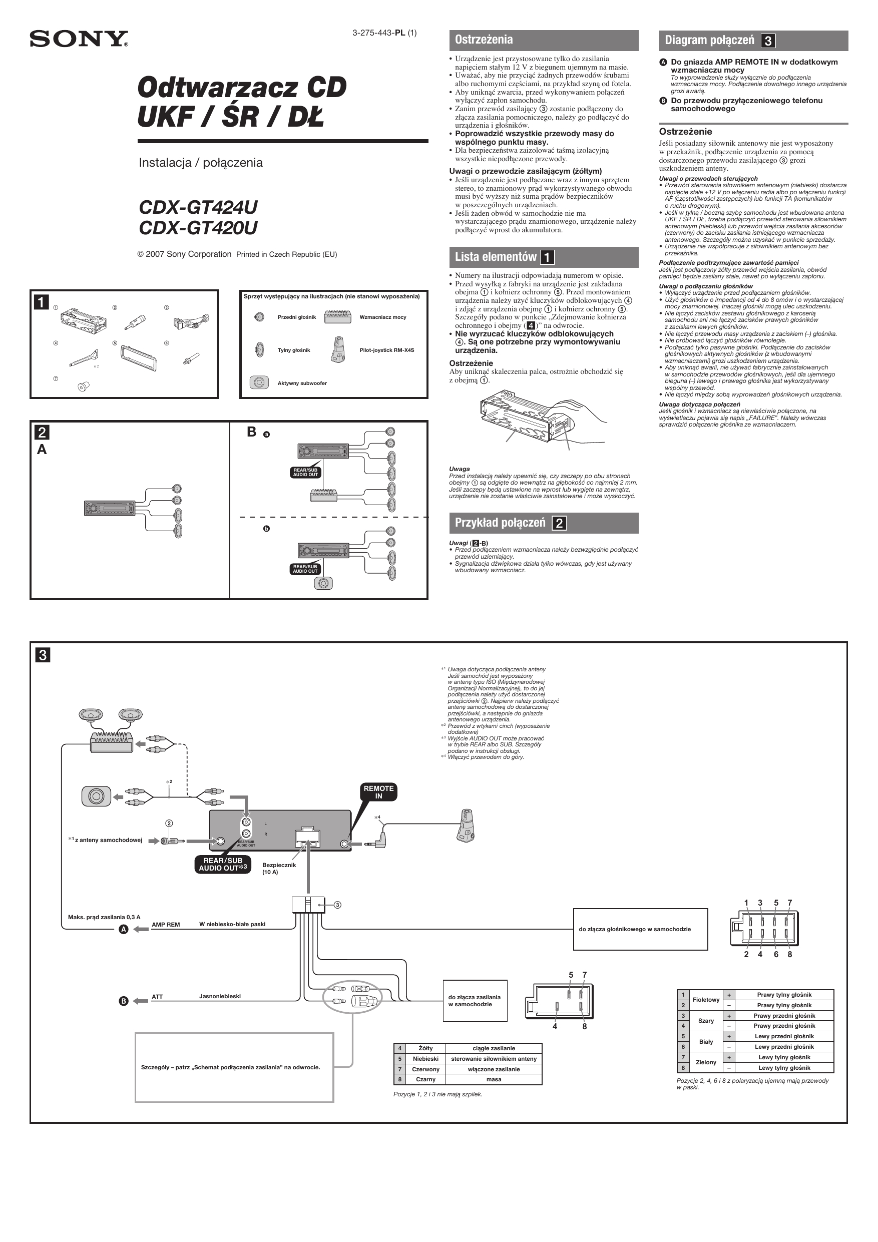 sony cdx gt420u instrukcja szybkiego uruchamiania