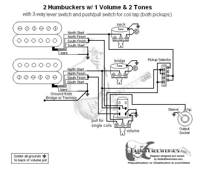 2 humbuckers 3 way lever switch 1 volume 2 tones coil tap