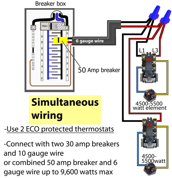 simultaneous thermostat wir water heater wiring diagram dual