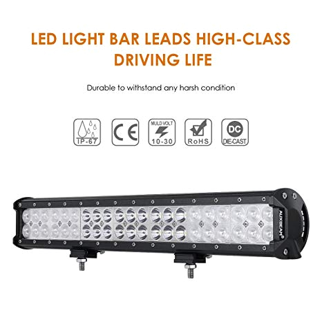 amazon com auxbeam 20 inch led light bar 126w light bar with 42pcs 3w led off road driving lights spot flood combo beam for jeep driving off road atv suv