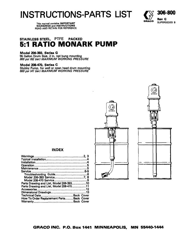 306800c 5 1 ratio monark pump instructions parts