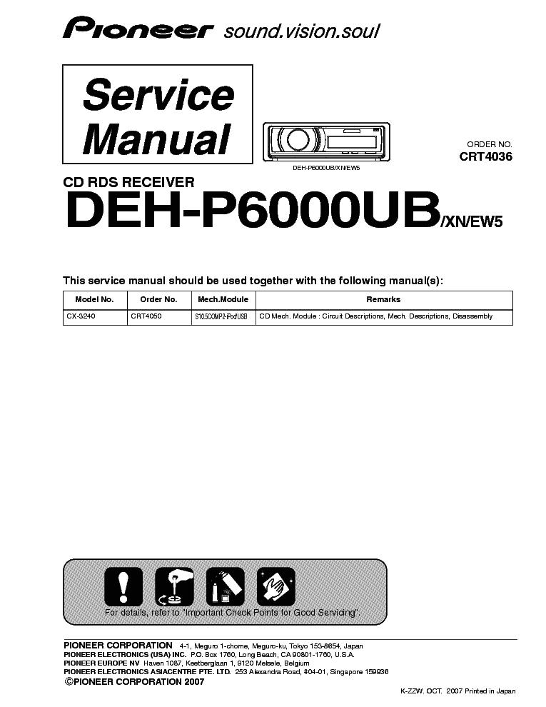 Deh P6000ub Wiring Diagram Pioneer Deh P6000ub Service Manual Download Schematics Eeprom