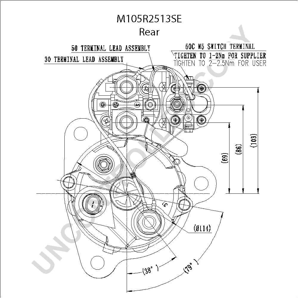 m105r2513se rear dim drawing