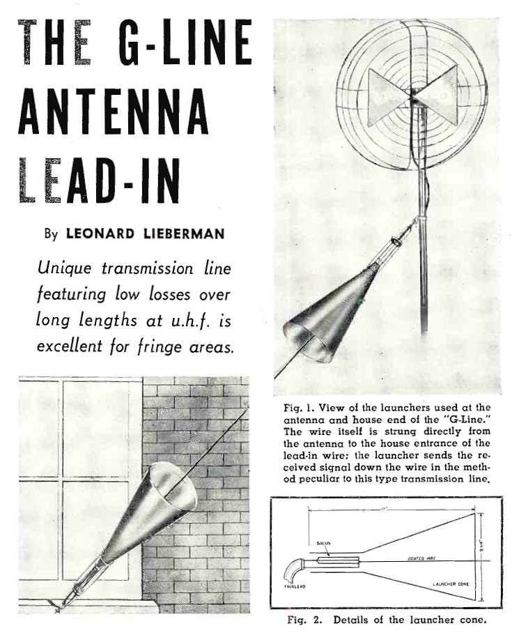 datei goubau line antenna lead in radio television news april 1955 jpg