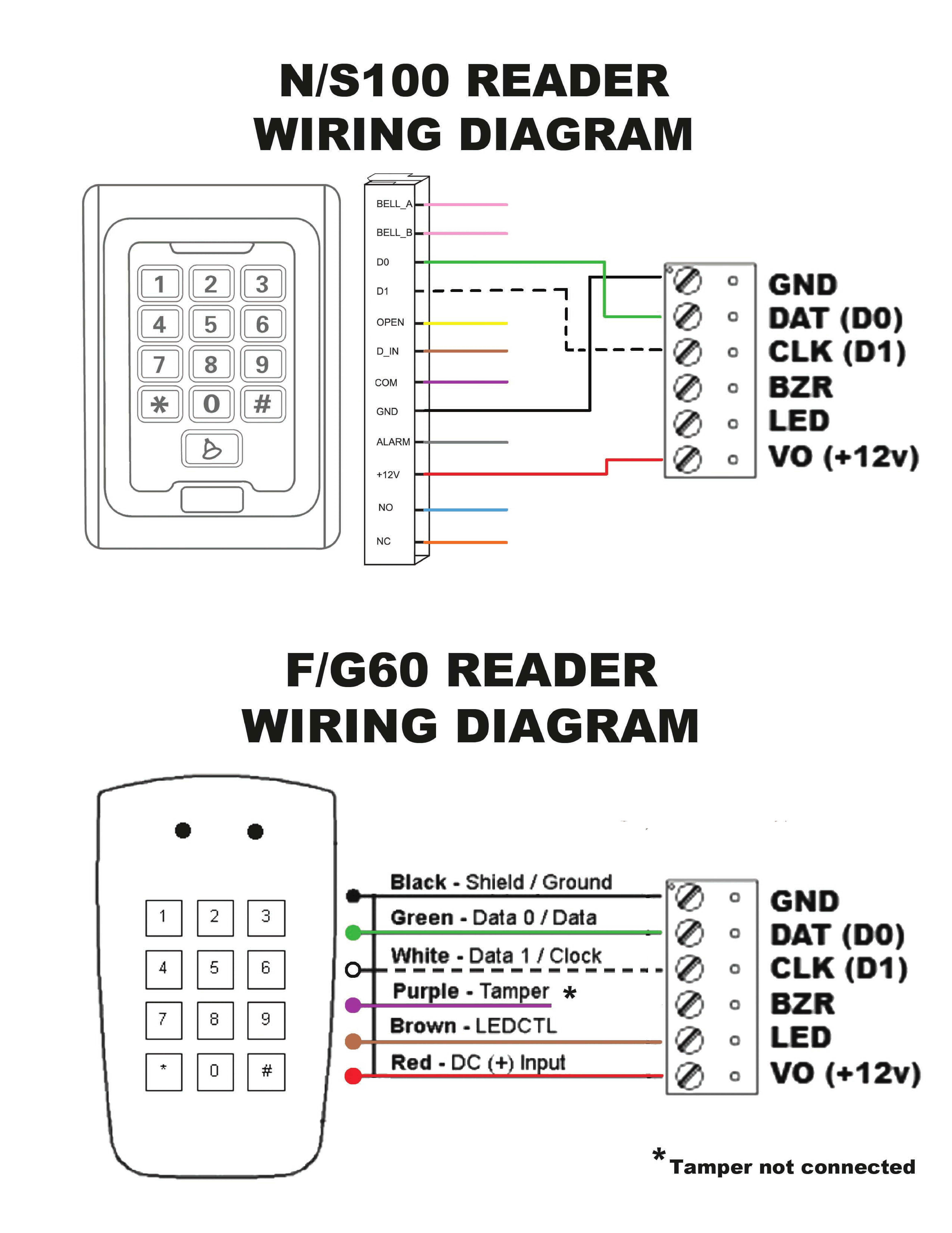 ls f60 g60 and ls n100 s100 readers wiring diagram u2013 remotelock mix s100 wiring