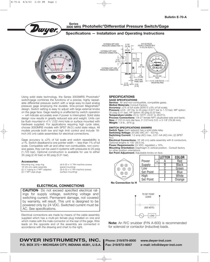 Dwyer Photohelic Wiring Diagram 3000mrs Photohelica Manualzz Com