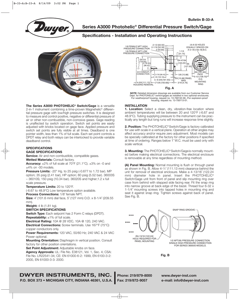 series a3000 photohelic differential pressure switch gage specifications installation and operating instructions