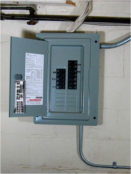 electrical panel with open door