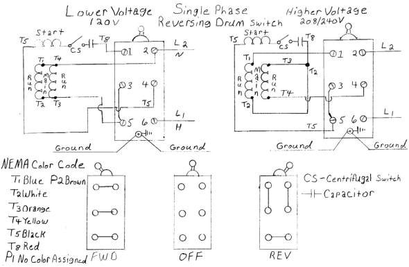 dual voltage single phase motor wiring diagram