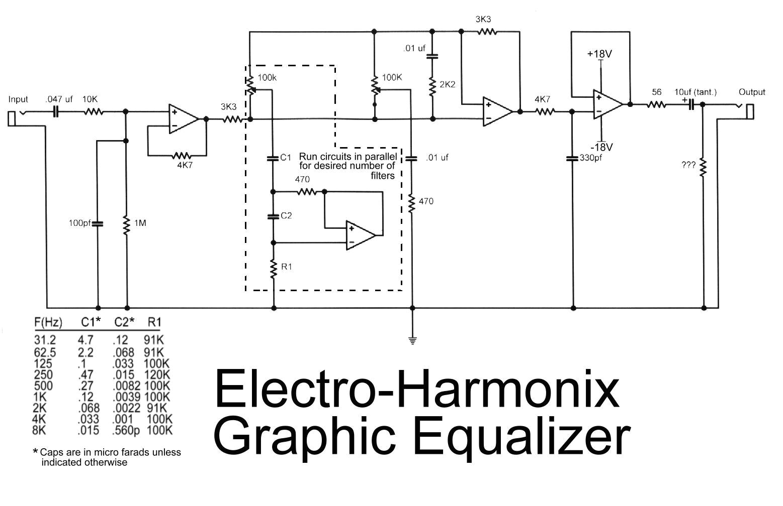 electro harmonix graphic equalizer circuit this is the diagram od