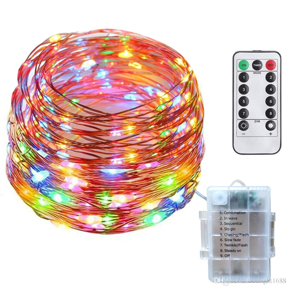 umlight1688 50 100 leds silver wire outdoor led fairy string lights aa battery operated led fairy light 8 modes remote controller