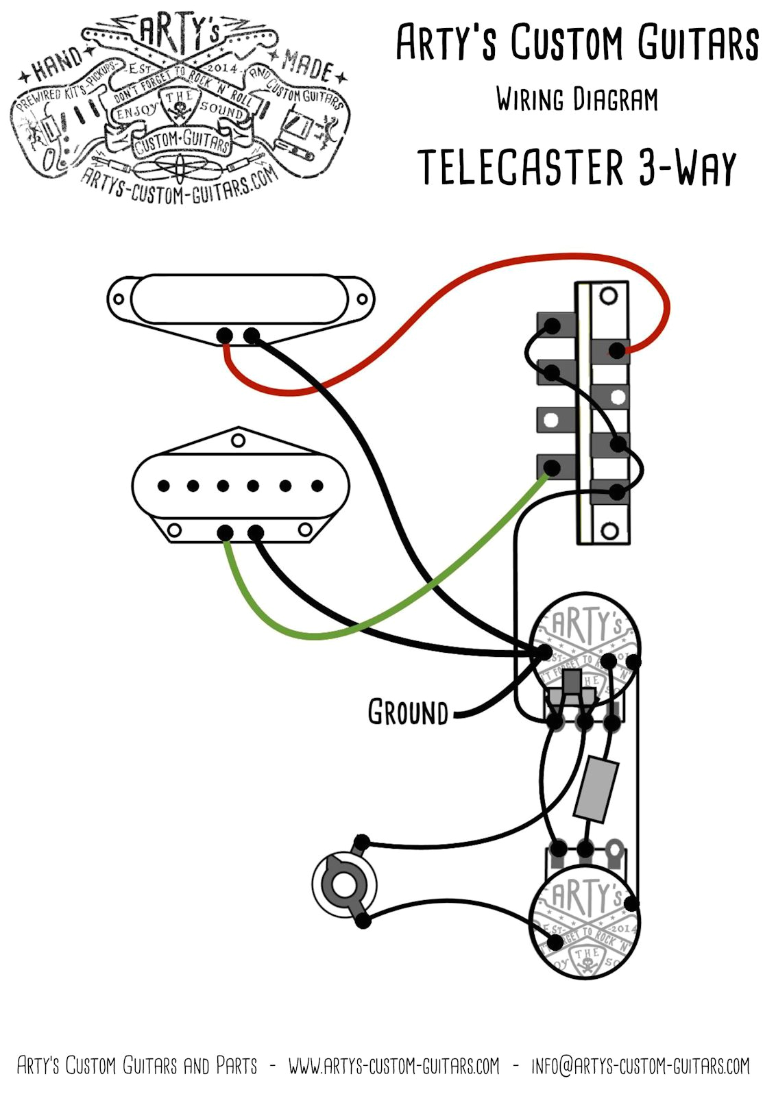 artys custom guitars telecaster standard wiring kit pre wired prewired kit harness control plate arty s