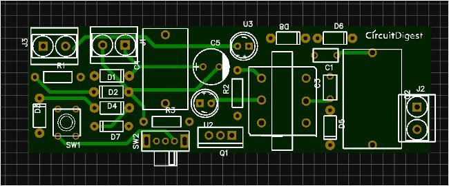 photo view of stun gun circuit pcb from easyeda