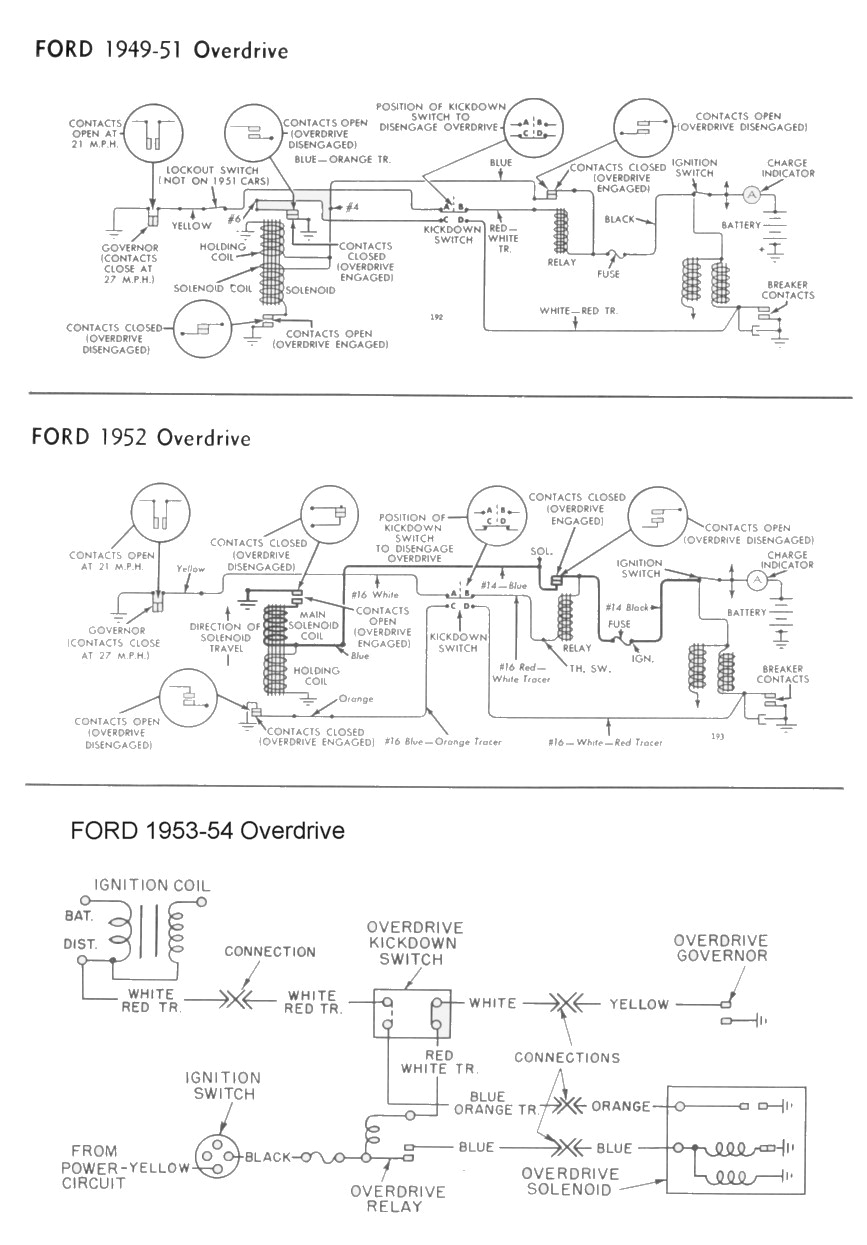 wiring for 1949 54 ford car overdrive