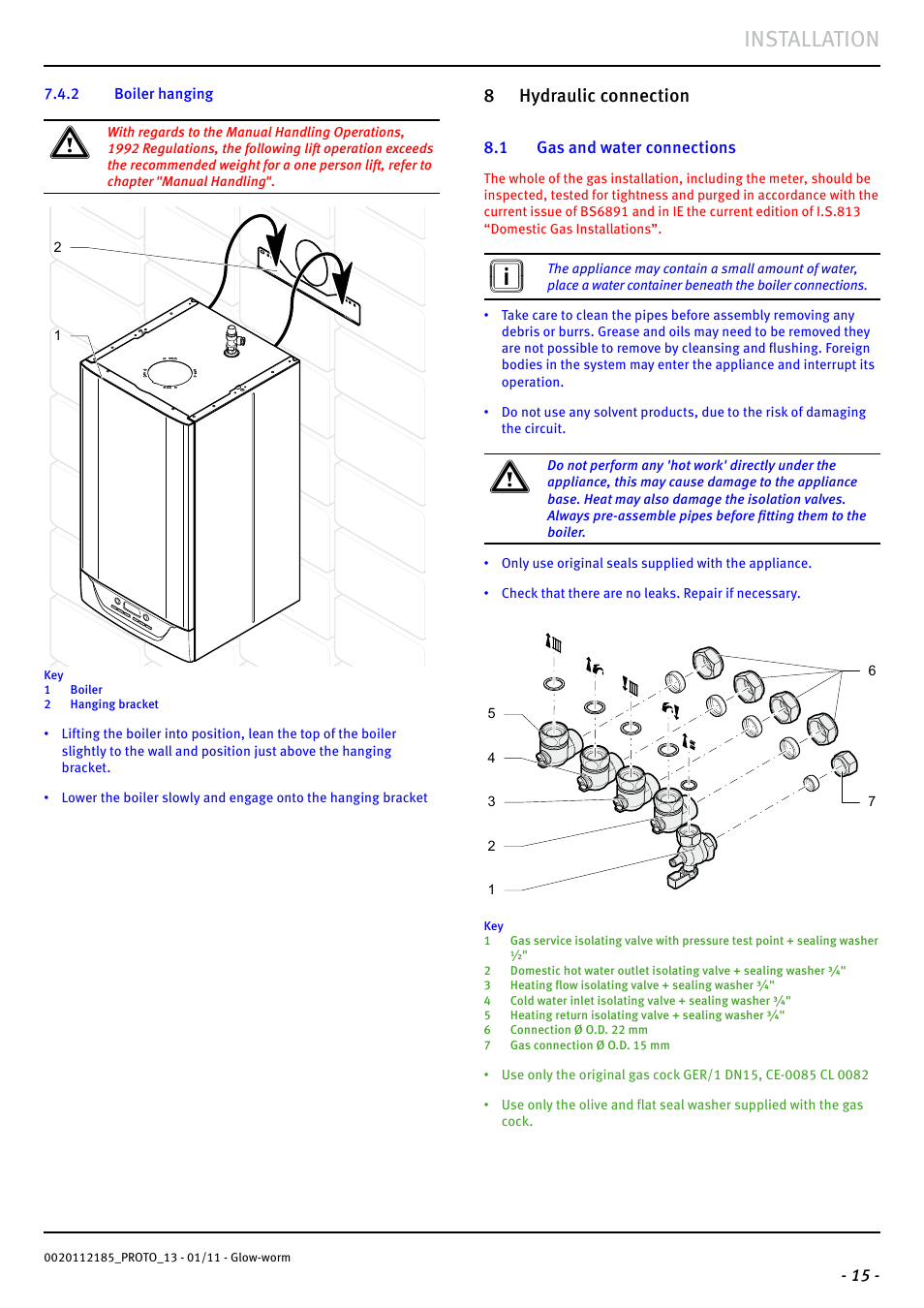 installation 8 hydraulic connection glow worm ultracom2 35 store user manual page 17 68