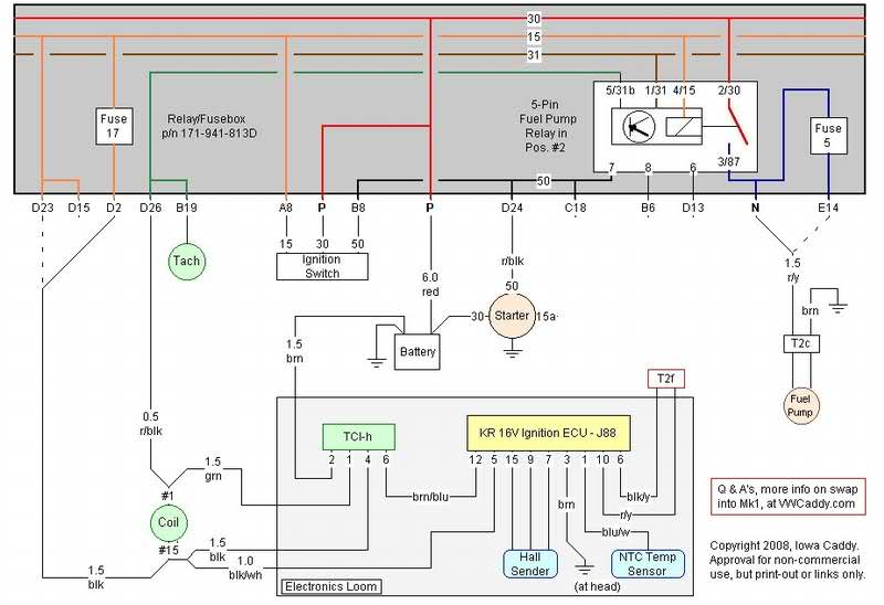 shows the wiring diagram for fitting the mk2 golf kr ecu with original mk1 wiring for the coil etc